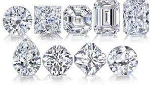 Cut and polished diamonds in a variety of shapes.